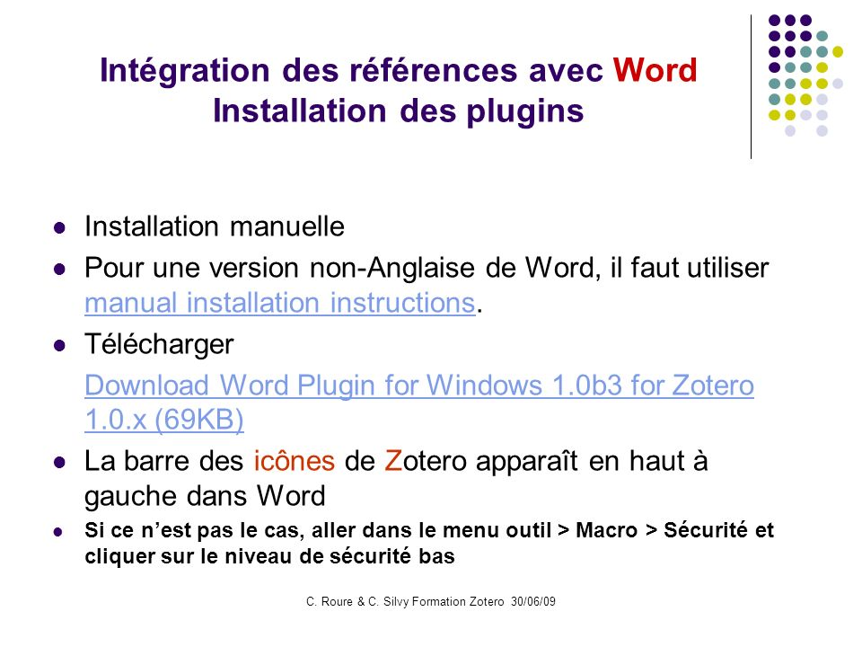 Intégration des références avec Word Installation des plugins