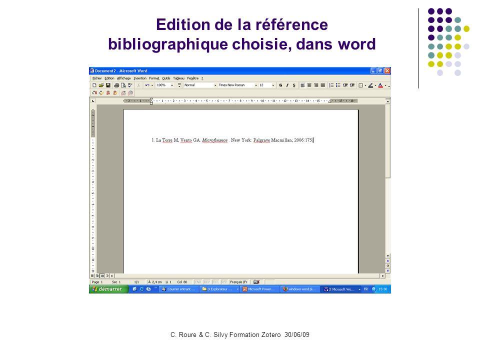 Edition de la référence bibliographique choisie, dans word