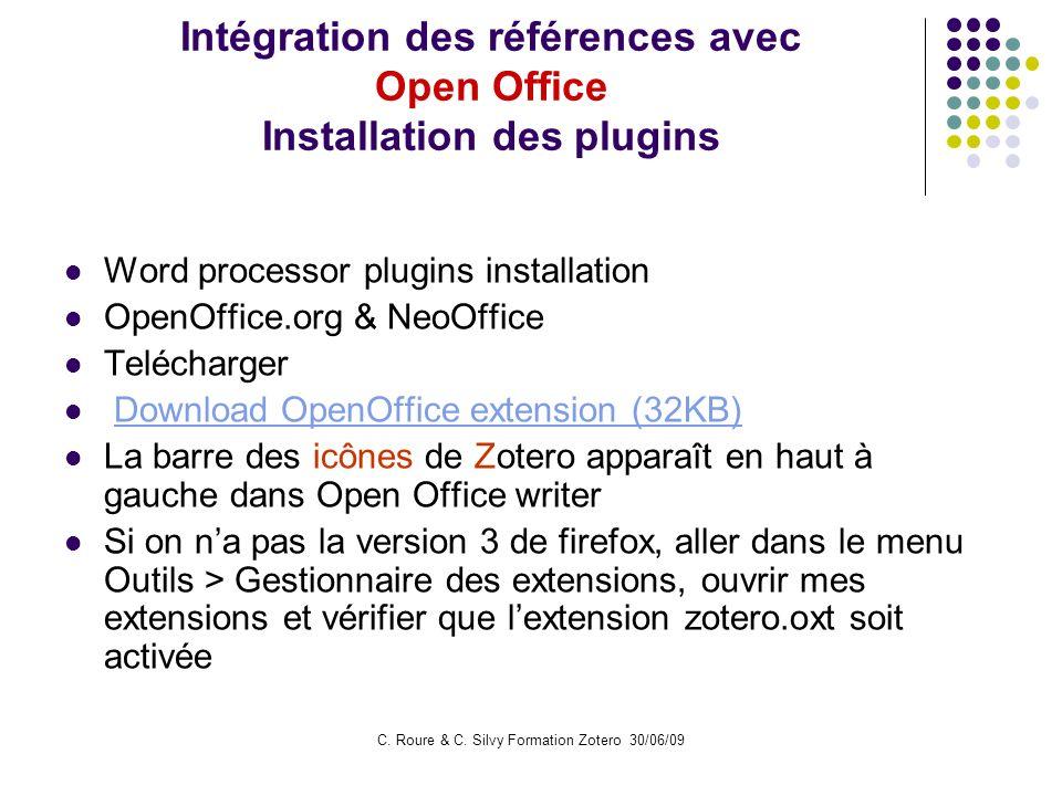 Intégration des références avec Open Office Installation des plugins