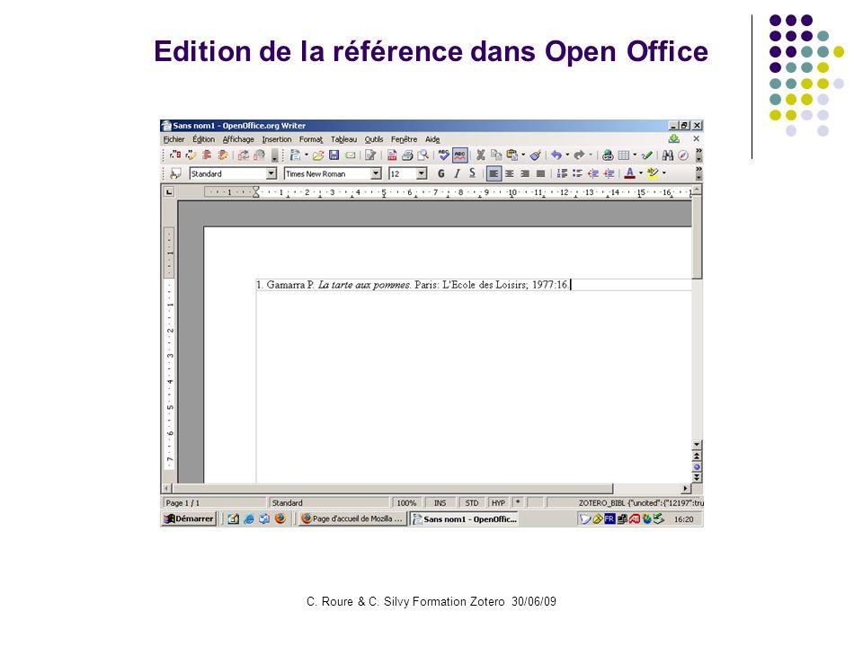 Edition de la référence dans Open Office