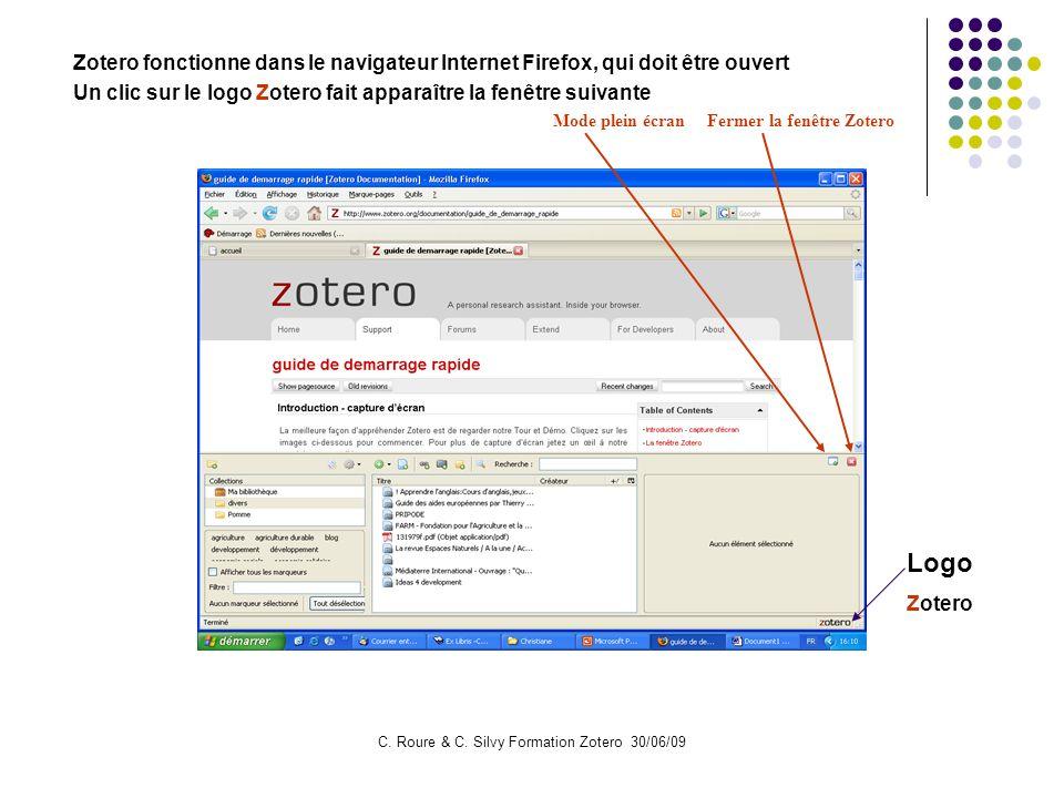 C. Roure & C. Silvy Formation Zotero 30/06/09