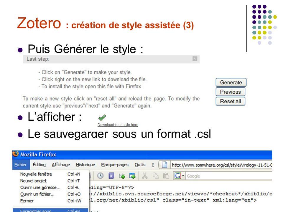 Zotero : création de style assistée (3)
