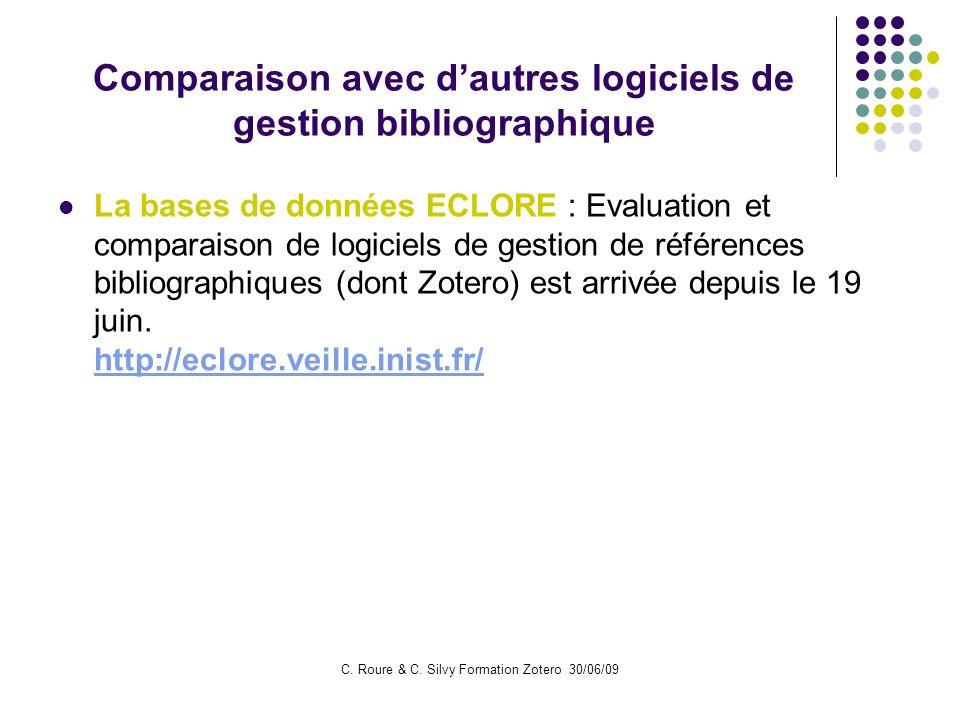 Comparaison avec d'autres logiciels de gestion bibliographique