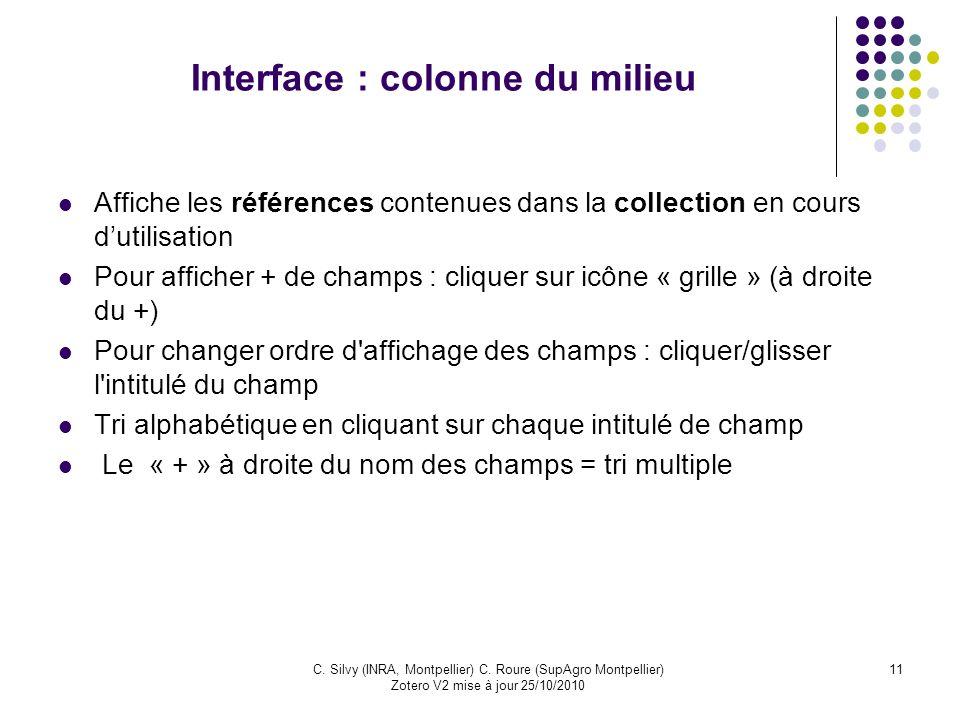 Interface : colonne du milieu