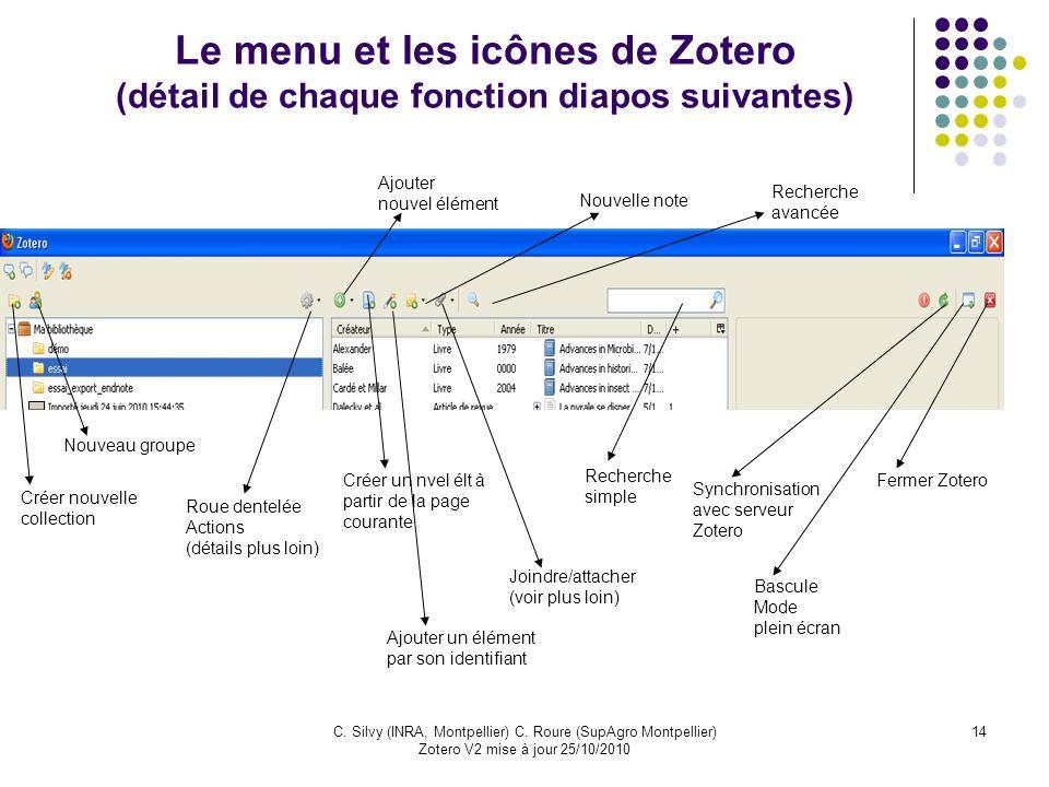 Le menu et les icônes de Zotero (détail de chaque fonction diapos suivantes)