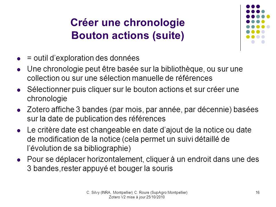 Créer une chronologie Bouton actions (suite)