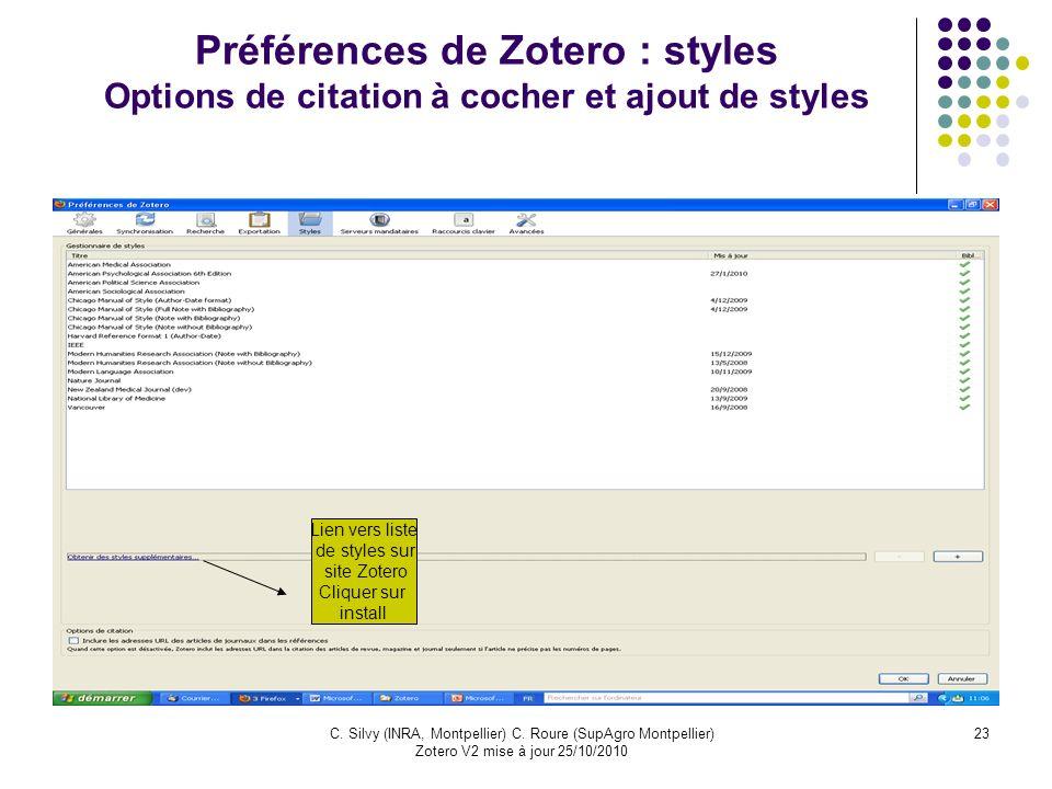 Préférences de Zotero : styles Options de citation à cocher et ajout de styles
