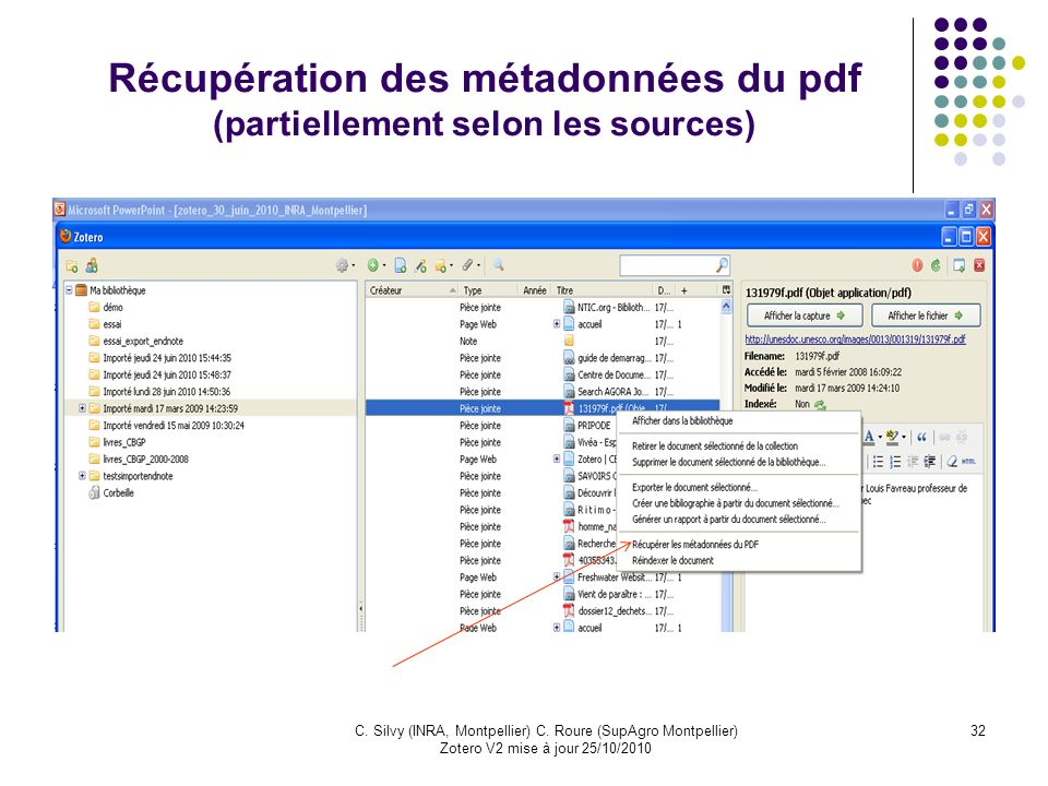 Récupération des métadonnées du pdf (partiellement selon les sources)