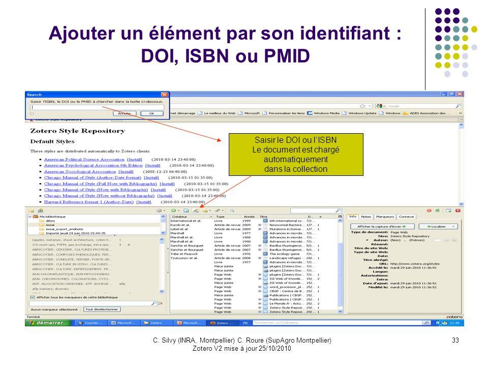 Ajouter un élément par son identifiant : DOI, ISBN ou PMID