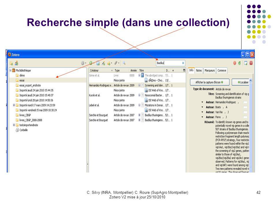 Recherche simple (dans une collection)