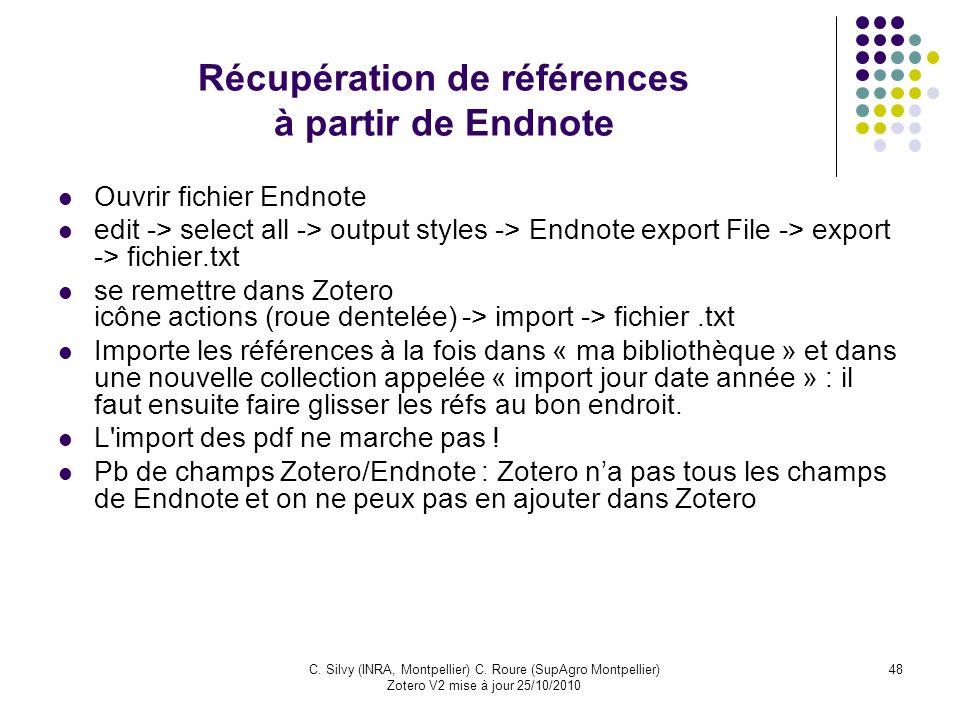 Récupération de références à partir de Endnote