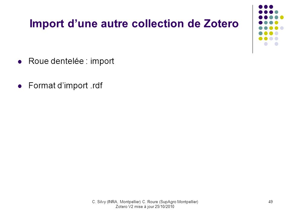 Import d'une autre collection de Zotero