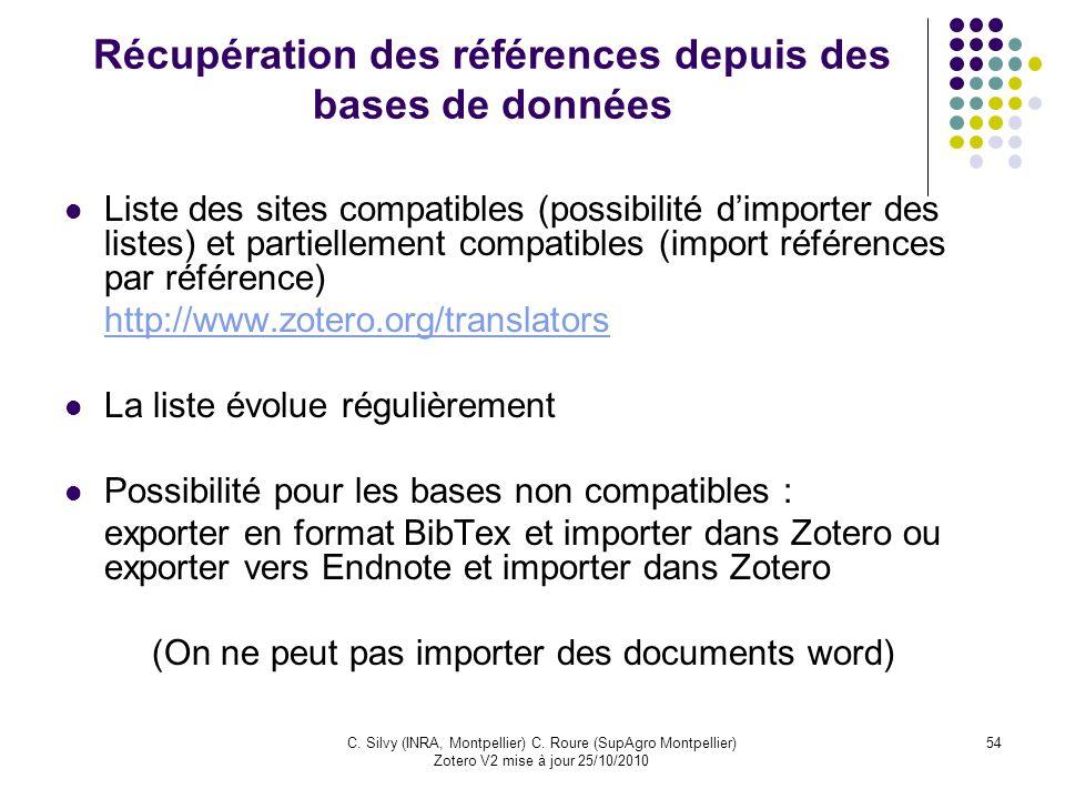 Récupération des références depuis des bases de données