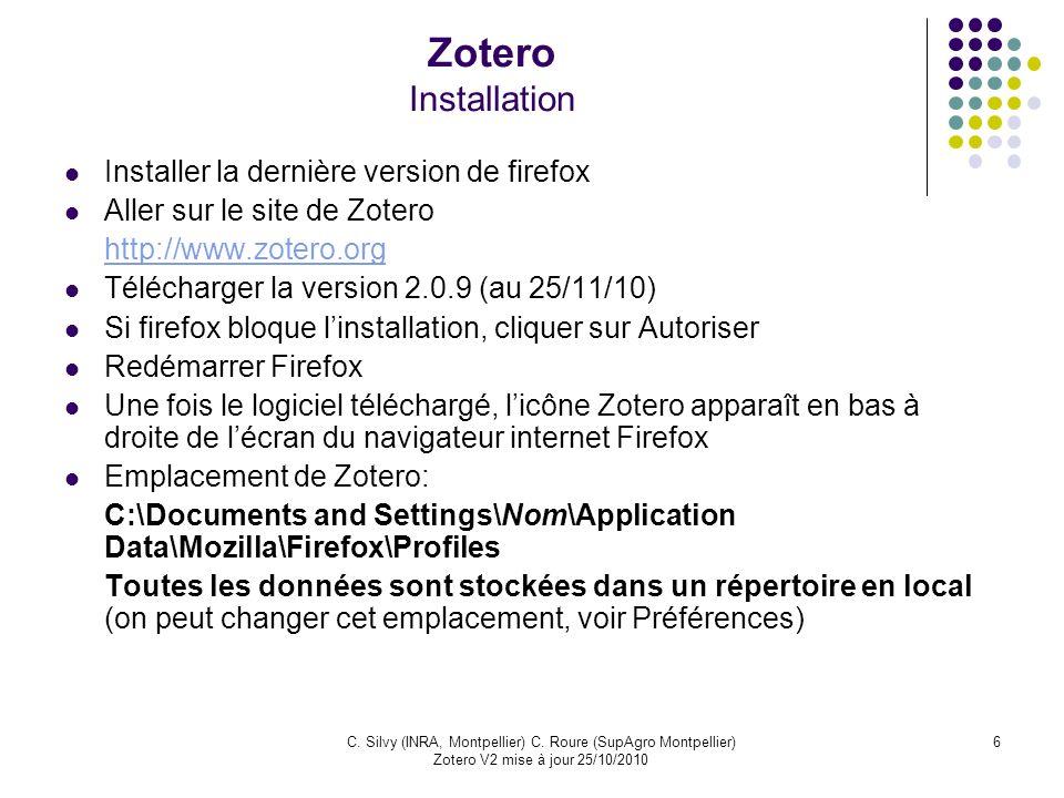 Zotero Installation Installer la dernière version de firefox