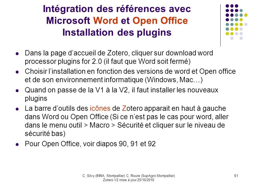Intégration des références avec Microsoft Word et Open Office Installation des plugins