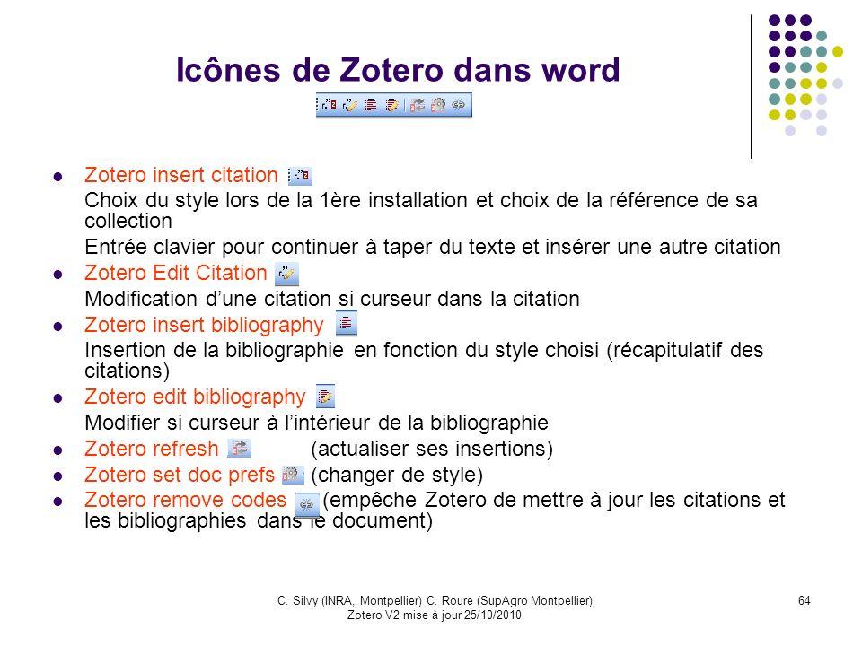 Icônes de Zotero dans word