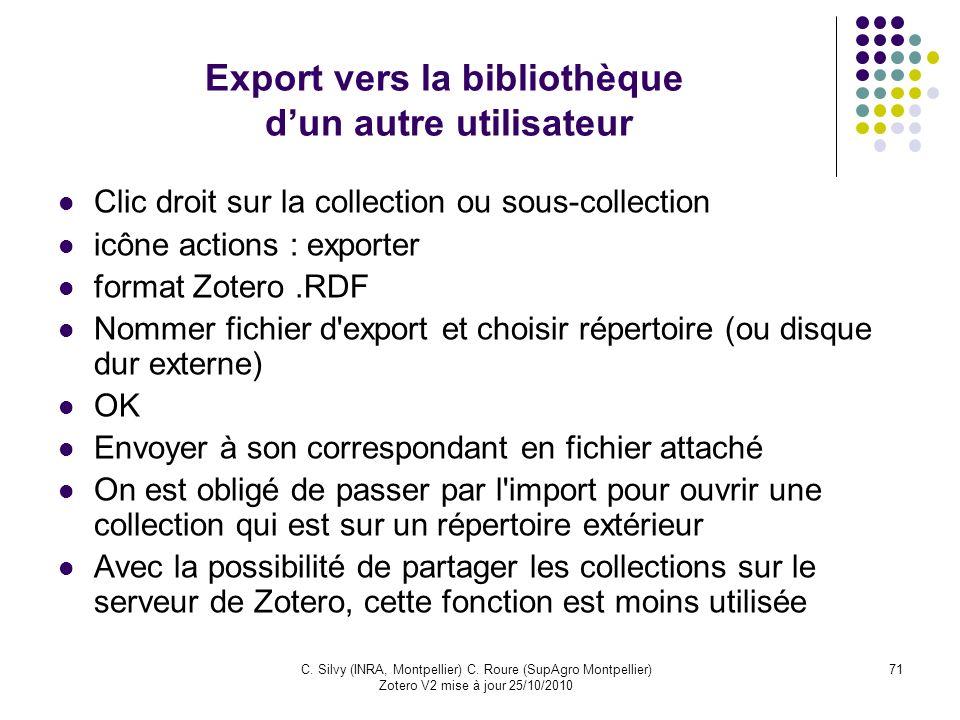 Export vers la bibliothèque d'un autre utilisateur