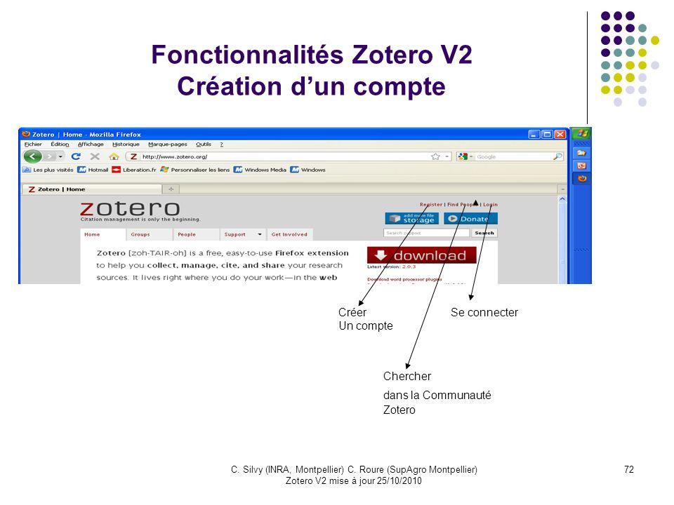 Fonctionnalités Zotero V2 Création d'un compte
