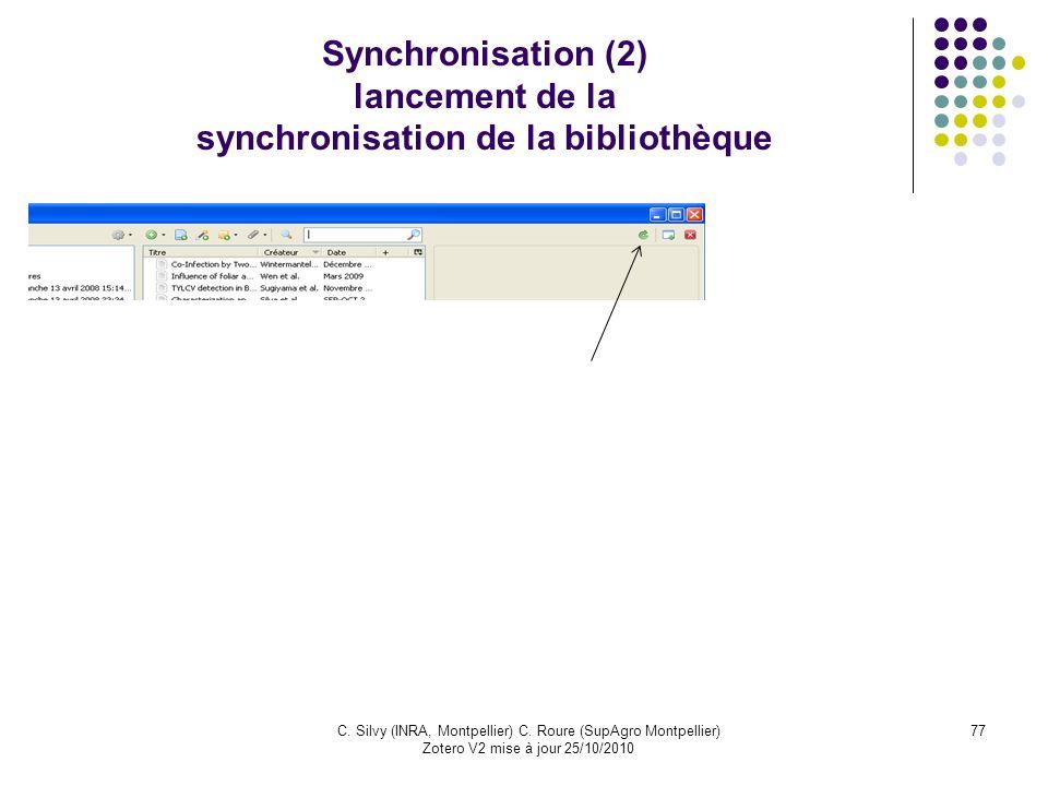 Synchronisation (2) lancement de la synchronisation de la bibliothèque