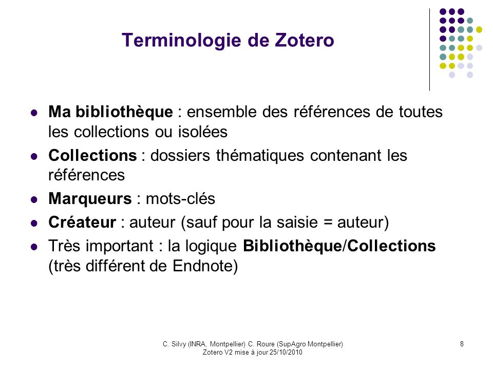 Terminologie de Zotero