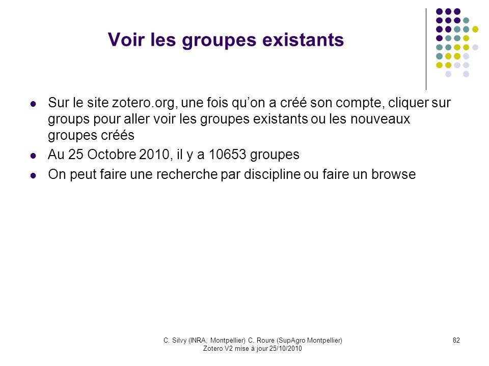 Voir les groupes existants