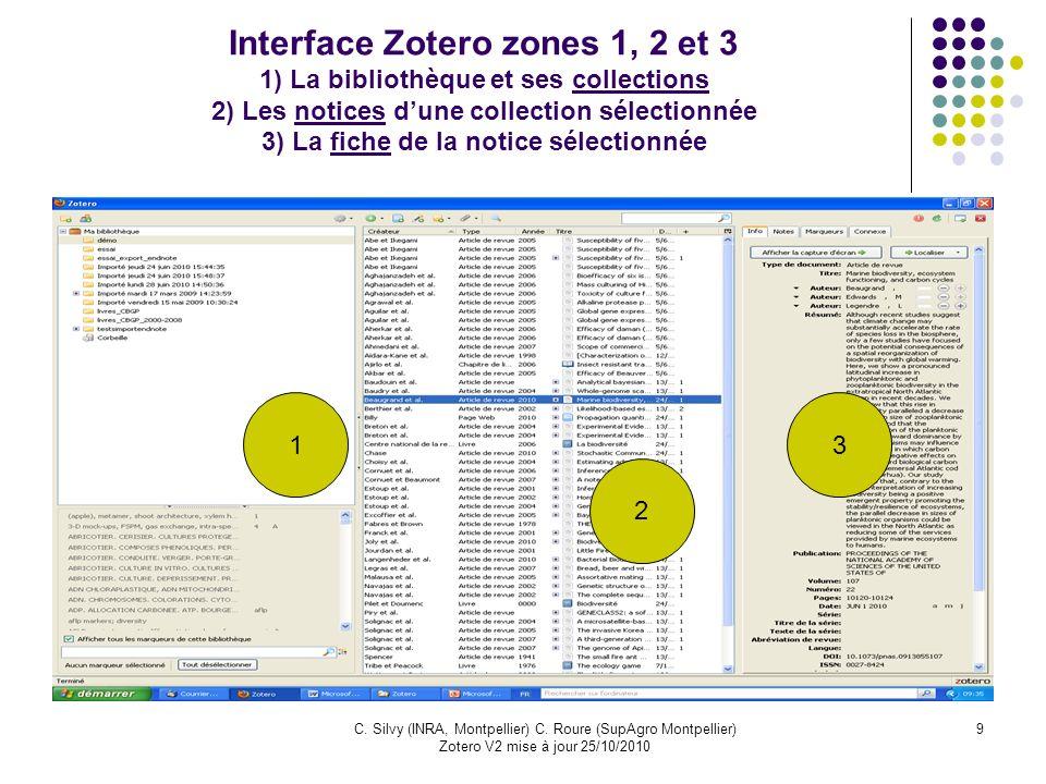 Interface Zotero zones 1, 2 et 3 1) La bibliothèque et ses collections 2) Les notices d'une collection sélectionnée 3) La fiche de la notice sélectionnée