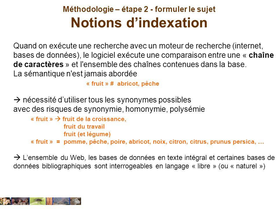 Méthodologie – étape 2 - formuler le sujet Notions d'indexation