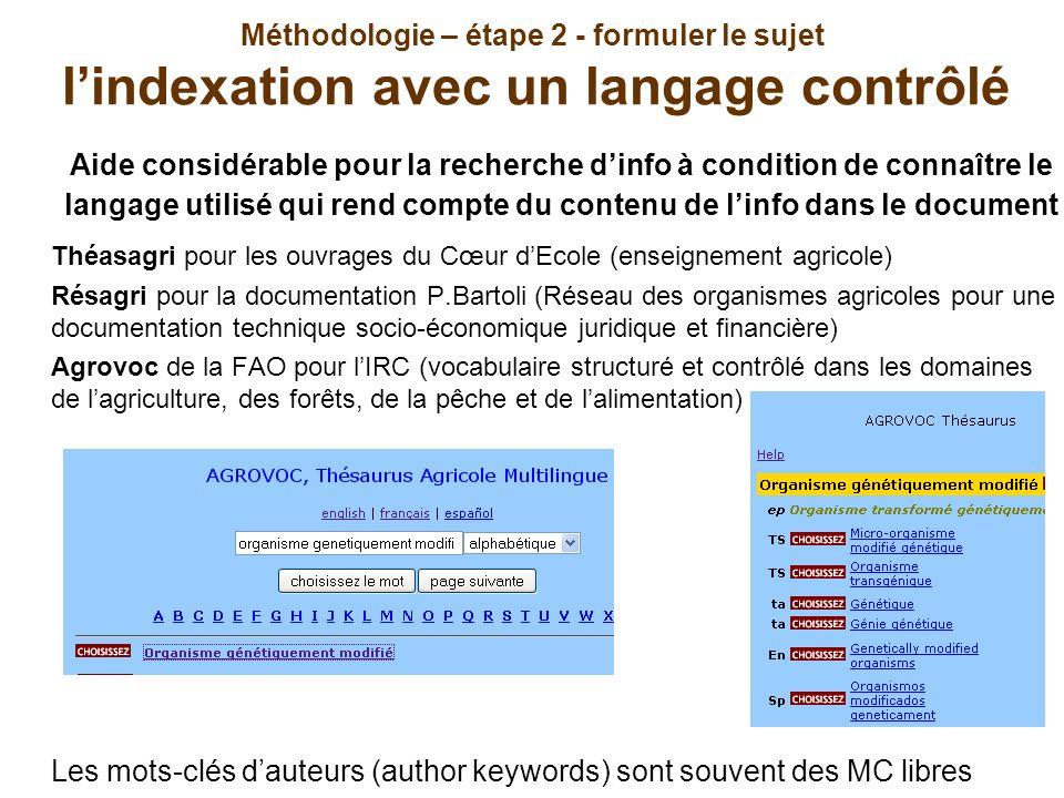 Méthodologie – étape 2 - formuler le sujet l'indexation avec un langage contrôlé