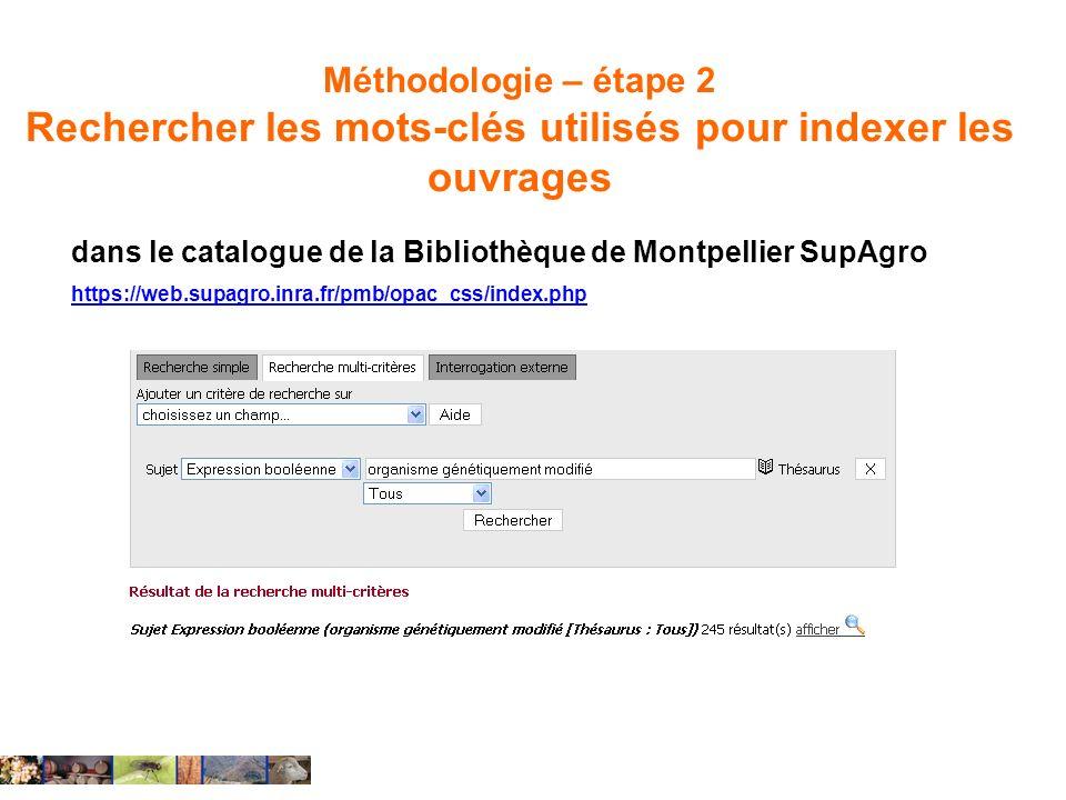 Méthodologie – étape 2 Rechercher les mots-clés utilisés pour indexer les ouvrages