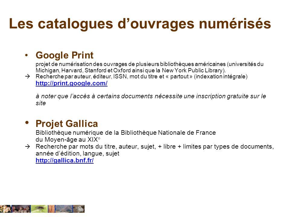 Les catalogues d'ouvrages numérisés