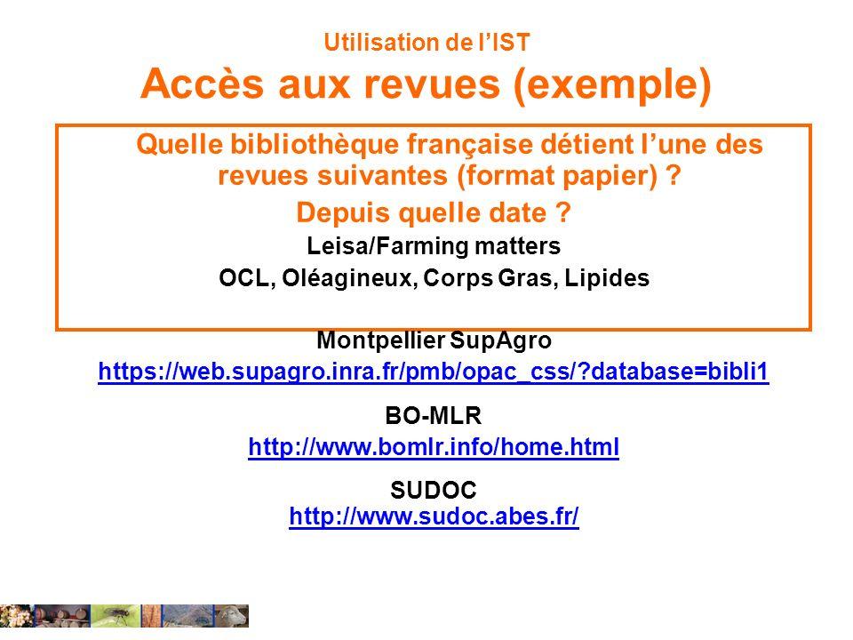 Utilisation de l'IST Accès aux revues (exemple)