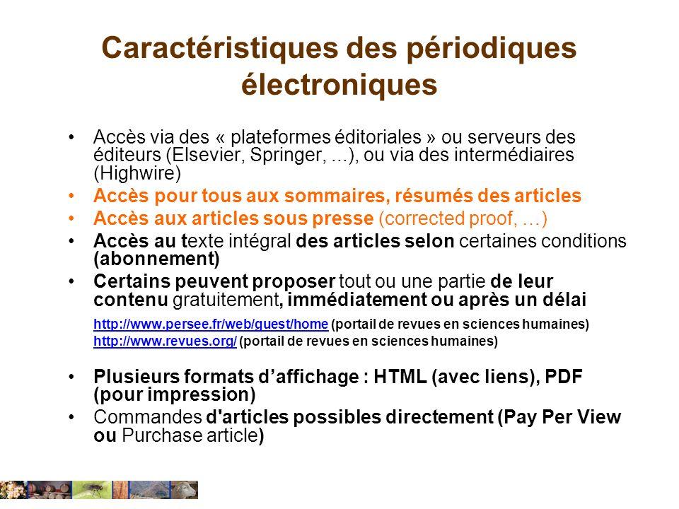 Caractéristiques des périodiques électroniques