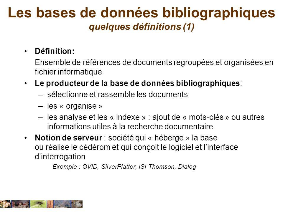 Les bases de données bibliographiques quelques définitions (1)