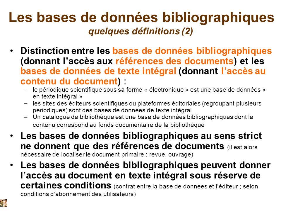 Les bases de données bibliographiques quelques définitions (2)