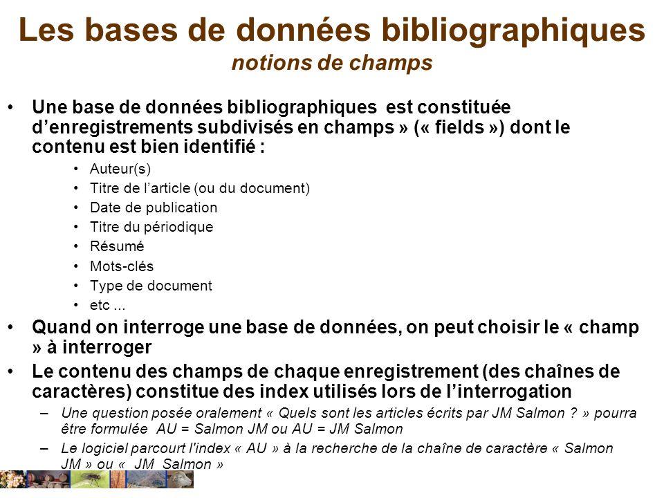 Les bases de données bibliographiques notions de champs
