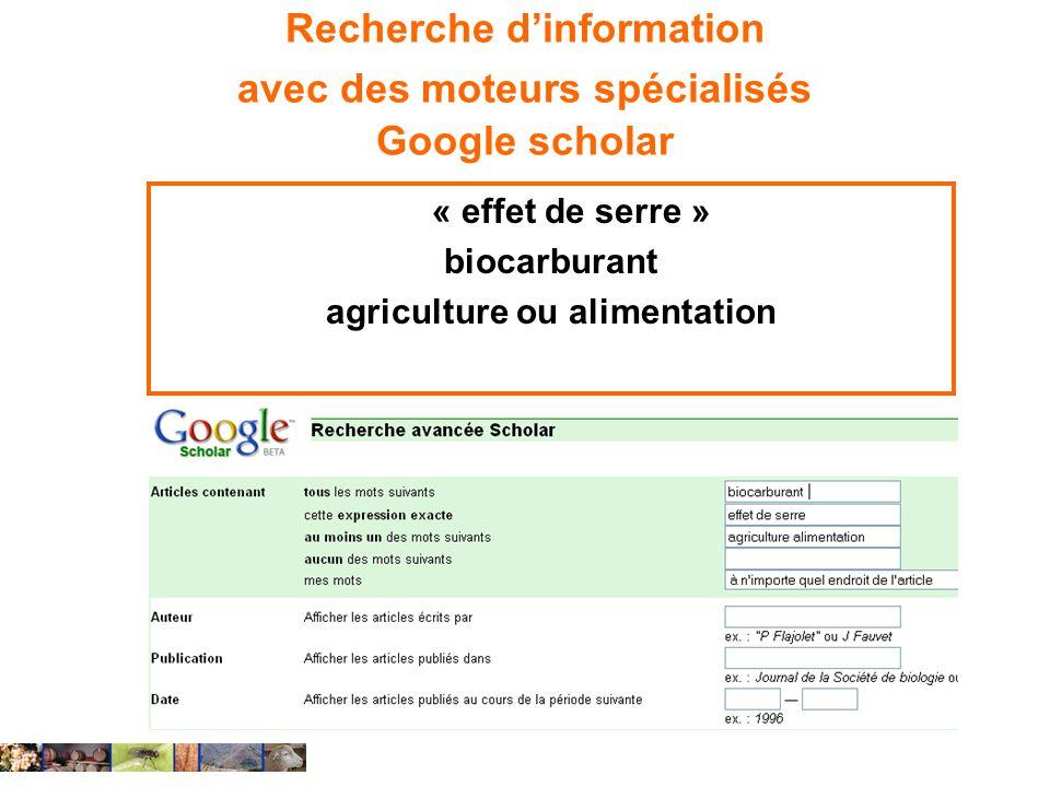 Recherche d'information avec des moteurs spécialisés Google scholar