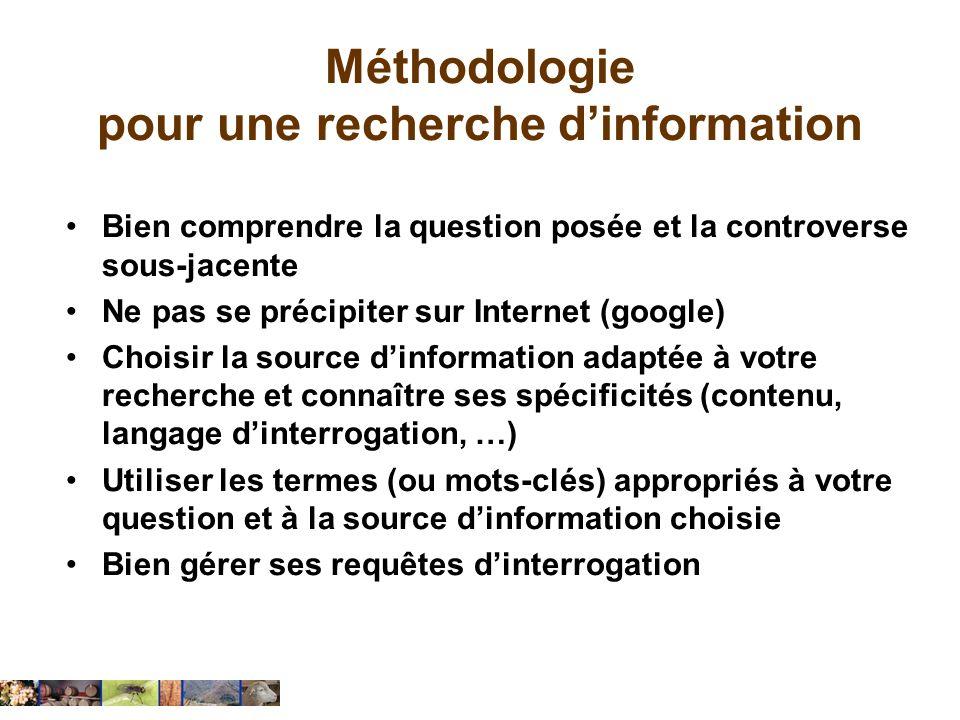 Méthodologie pour une recherche d'information