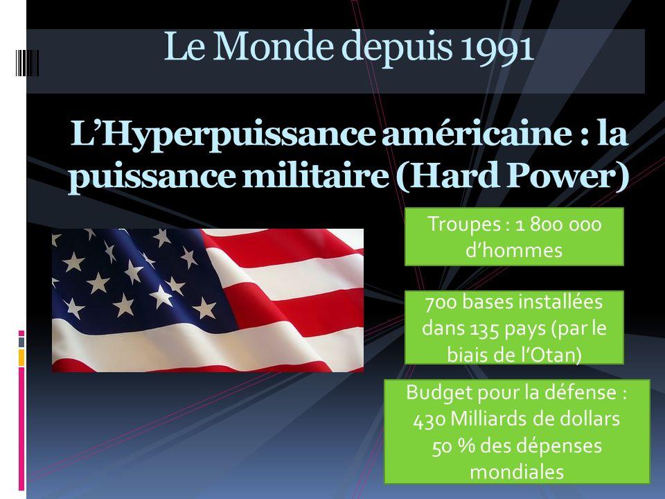 Le Monde depuis 1991 L'Hyperpuissance américaine : la puissance militaire (Hard Power)
