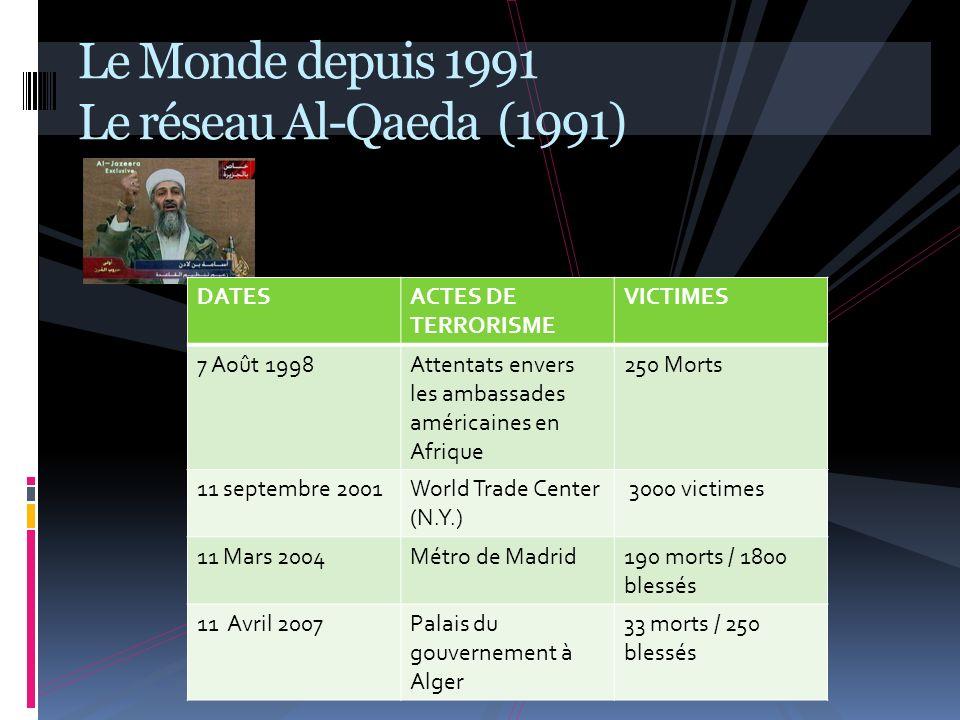 Le Monde depuis 1991 Le réseau Al-Qaeda (1991)