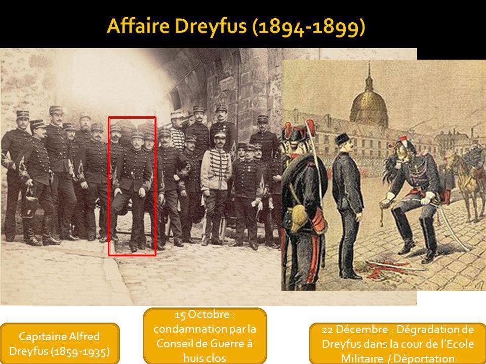 Affaire Dreyfus (1894-1899)15 Octobre : condamnation par la Conseil de Guerre à huis clos. Capitaine Alfred Dreyfus (1859-1935)