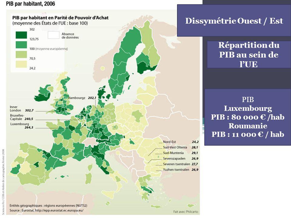 Dissymétrie Ouest / Est Répartition du PIB au sein de l'UE