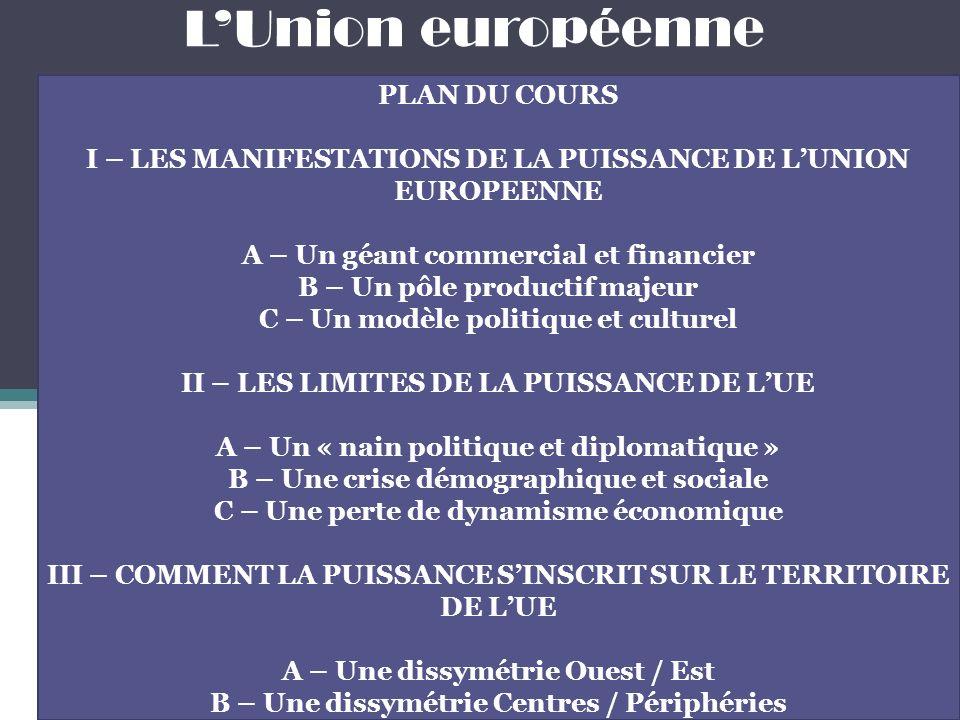 L'Union européenne PLAN DU COURS