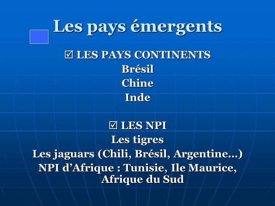 Les pays émergents  LES PAYS CONTINENTS Brésil Chine Inde  LES NPI