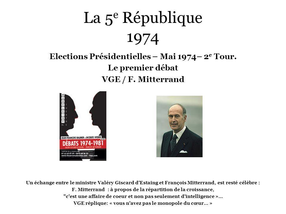 La 5e République 1974 Elections Présidentielles – Mai 1974– 2e Tour.