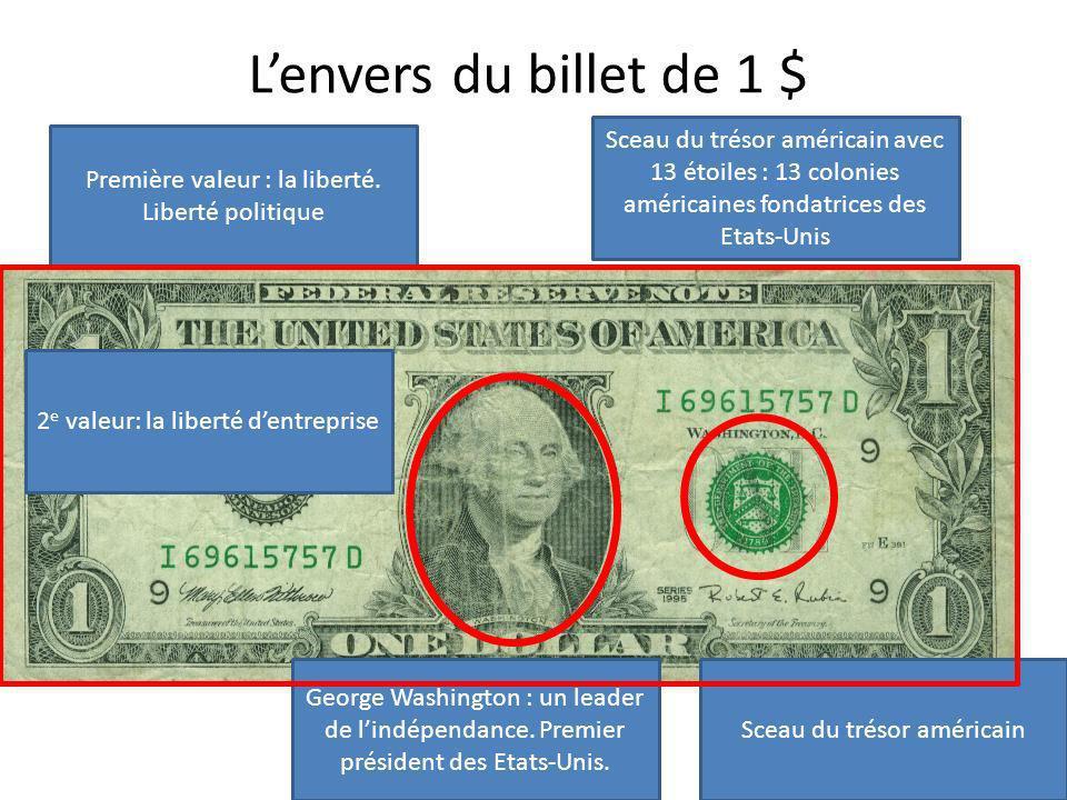 L'envers du billet de 1 $ Sceau du trésor américain avec 13 étoiles : 13 colonies américaines fondatrices des Etats-Unis.