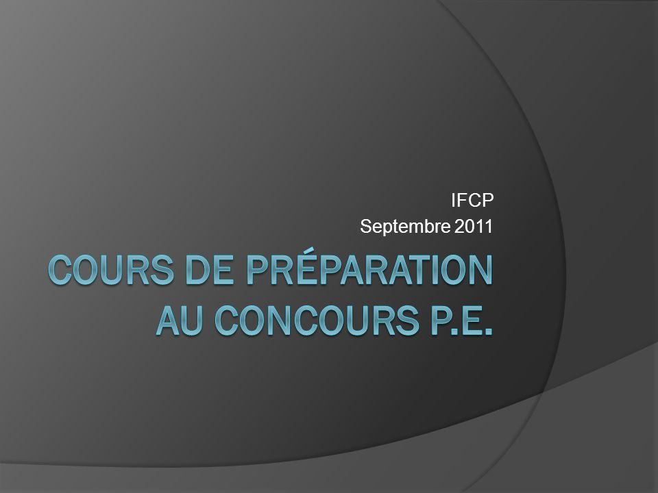 Cours de préparation au concours P.E.