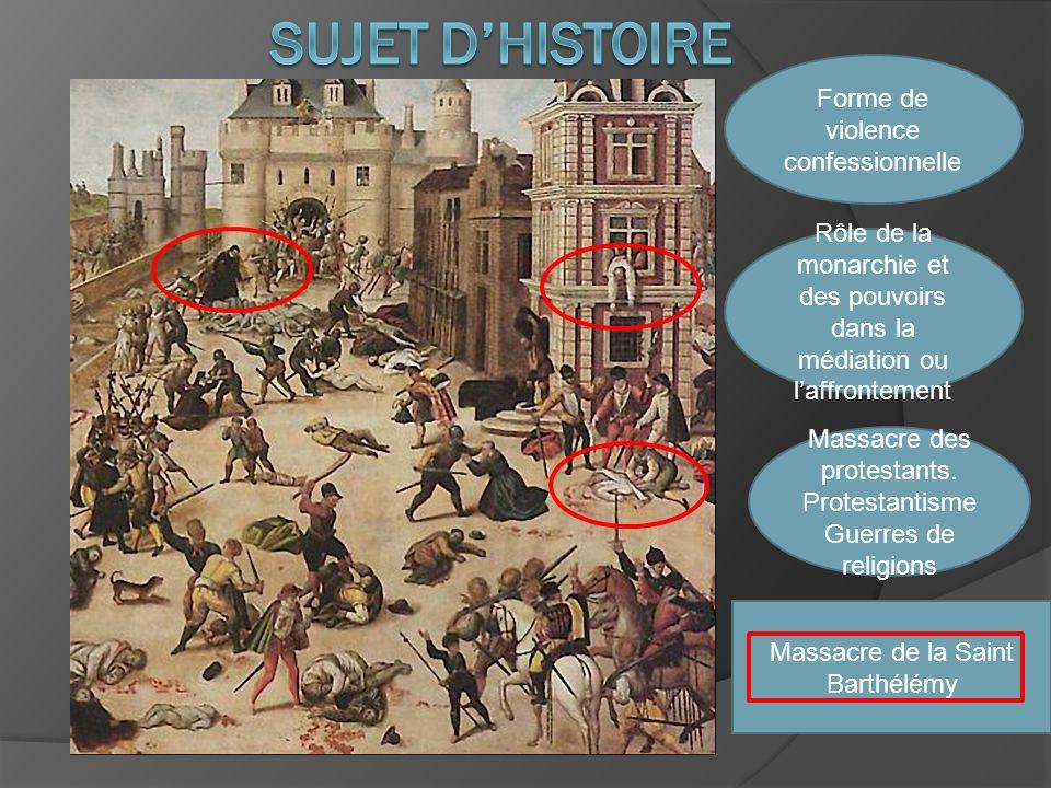 sujet D'HISTOIRE Forme de violence confessionnelle