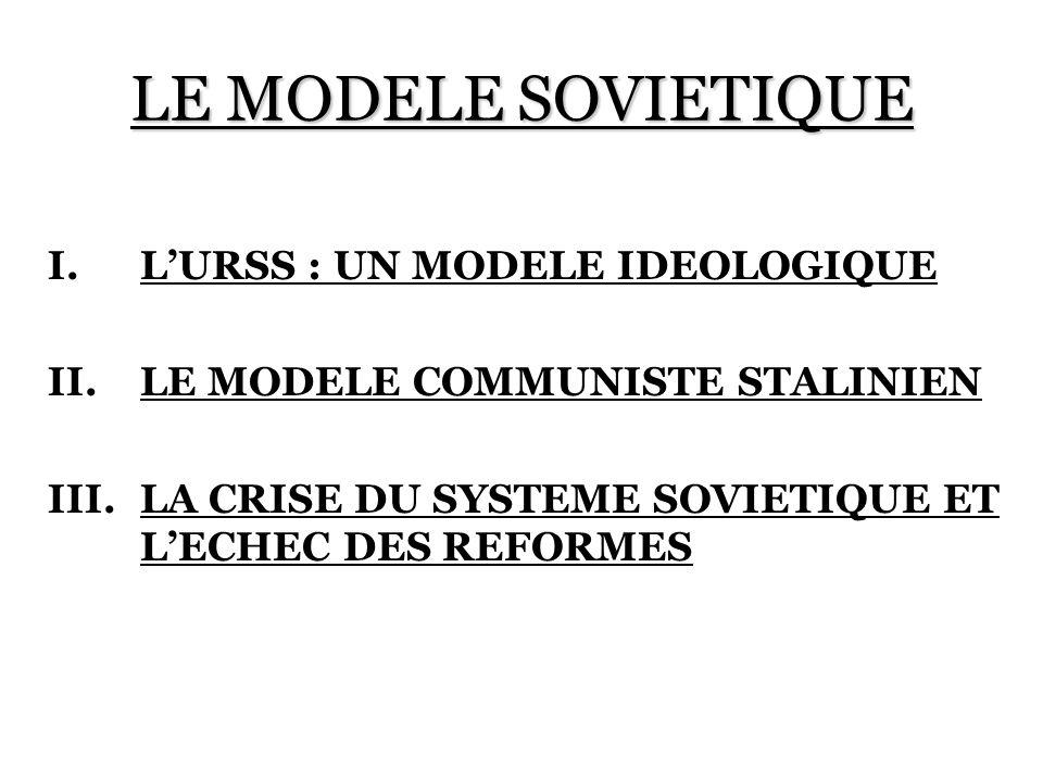 LE MODELE SOVIETIQUE L'URSS : UN MODELE IDEOLOGIQUE