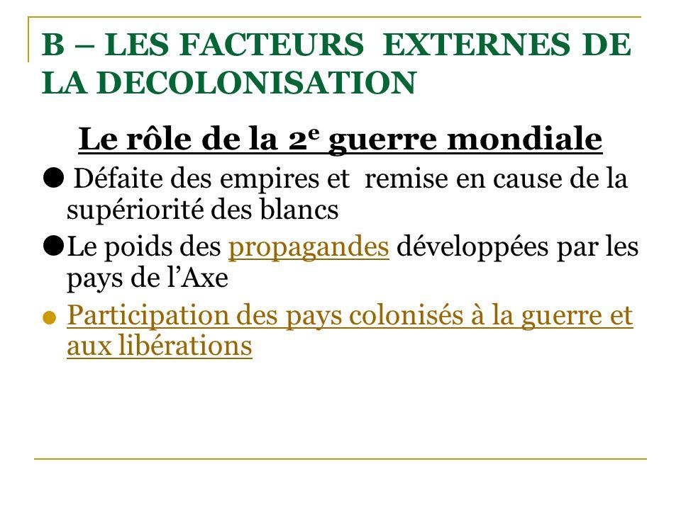 B – LES FACTEURS EXTERNES DE LA DECOLONISATION