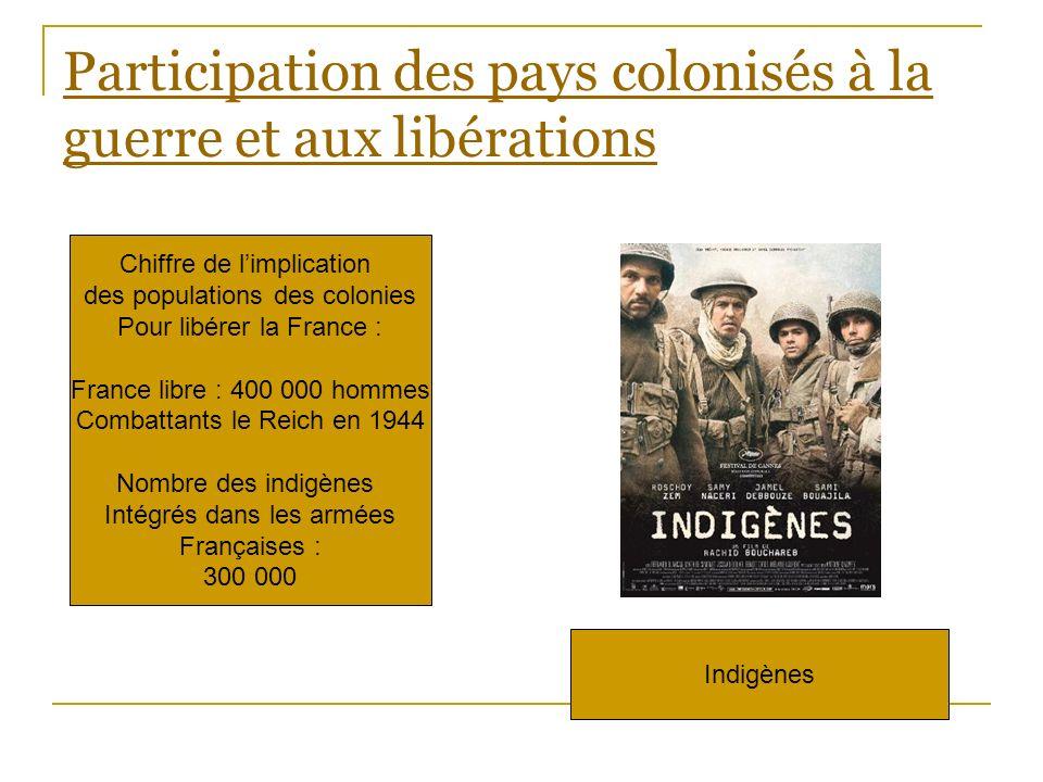 Participation des pays colonisés à la guerre et aux libérations